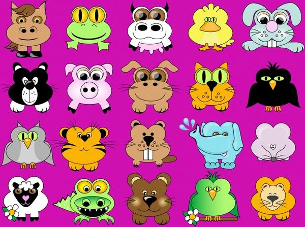 animal icons cute cartoon characters