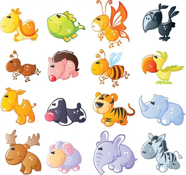 animals icons cute cartoon characters