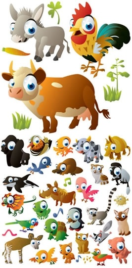 animals icons cute cartoon characters colorful sketch