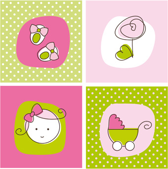 cute cartoon baby elements mix vector set