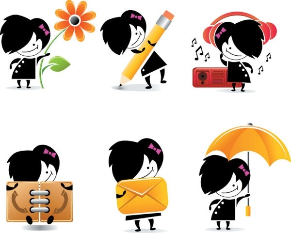 cute cartoon character icons vector