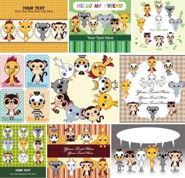 cute cartoon children39s illustrator 01 vector