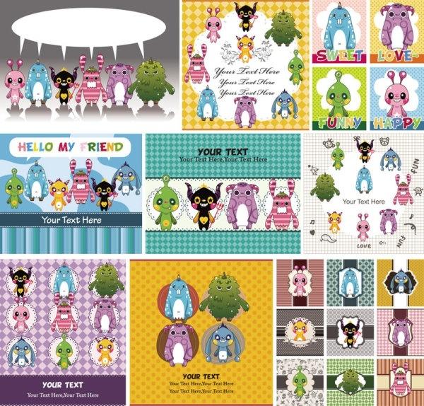 cute cartoon children39s illustrator 02 vector