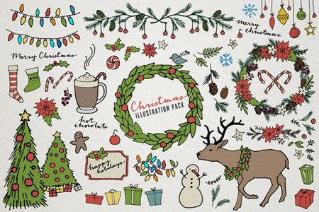 cute cartoon christmas elements illustrations vector