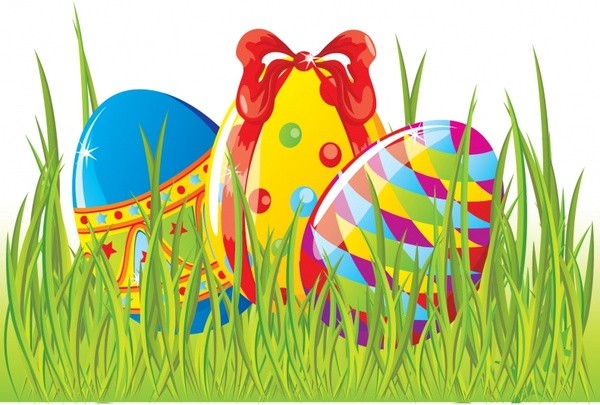 easter background shiny modern colorful eggs grass decor