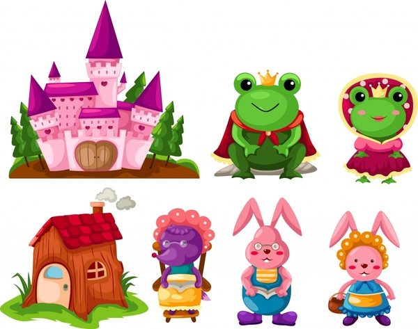 fairy tale icons colorful cute cartoon characters sketch