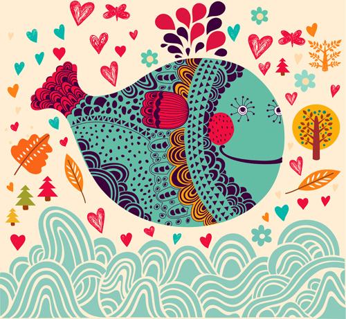 cute cartoon floral animals pattern vector set