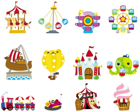 cute cartoon icon playground 03 vector