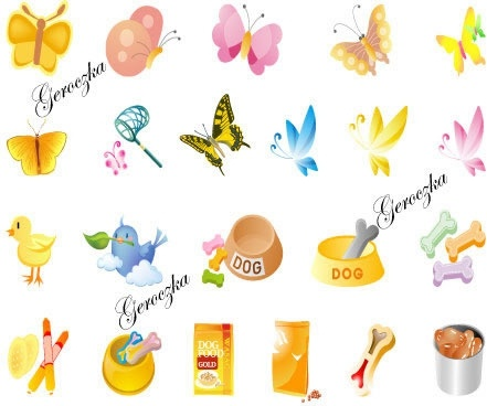 animal design elements butterflies birds dog food icons