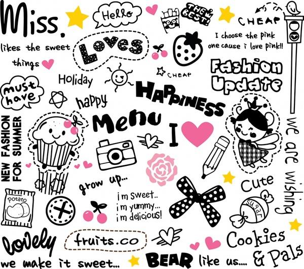 decorative elements cute handdrawn texts symbols sketch