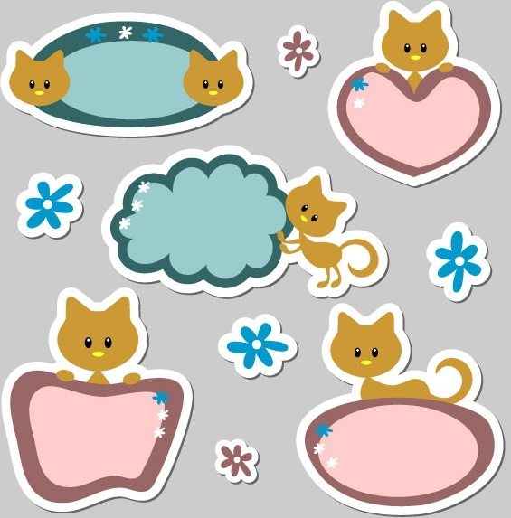 cute cartoon label 01 vector