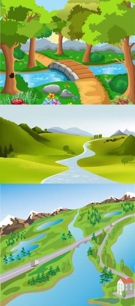 cute cartoon landscape vector