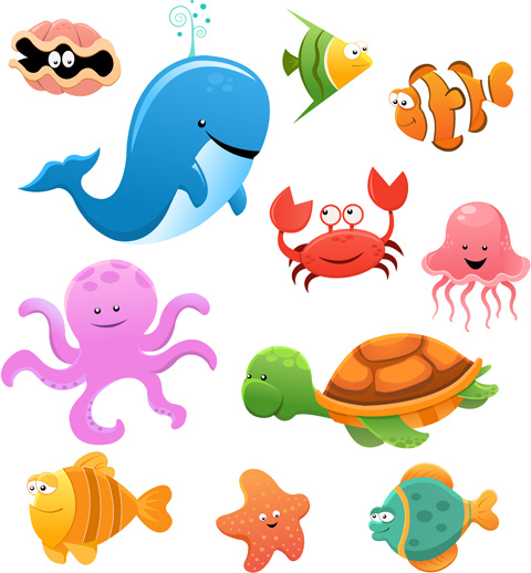 cute cartoon marine animals vector graphics