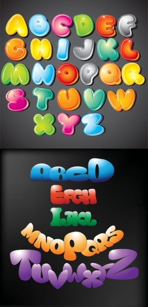cute cartoon of the letters vector
