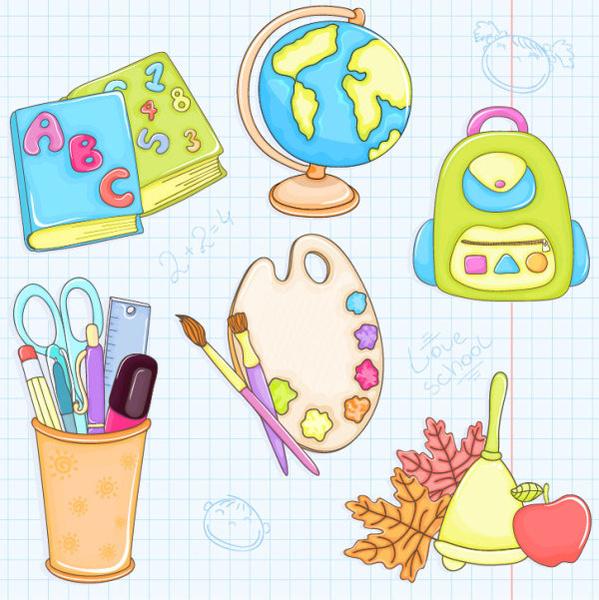 cute cartoon school supplies vector set