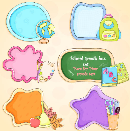 cute cartoon school supplies vector set