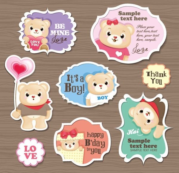 cute cartoon stickers 03 vector