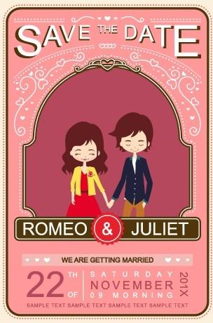 Cute Cartoon Style Wedding Invitation Card Vector Free Vector In