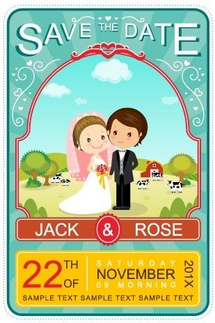 cute cartoon style wedding invitation card vector