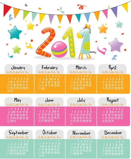 2011 calendar template colorful ribbon eventful decor