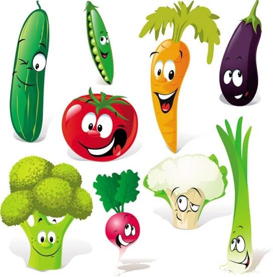 cute cartoon vegetables expression vector