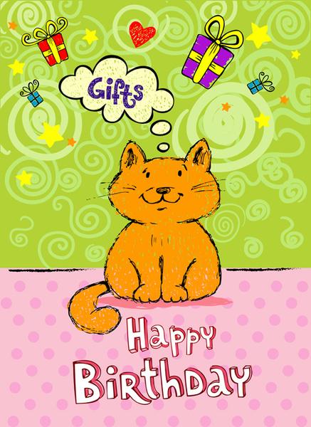 Cute Cat Birthday Cards Creative Vector Free 95376KB