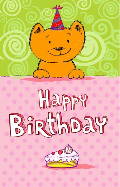 Cute Cat Birthday Cards Creative Vector Free 55591KB