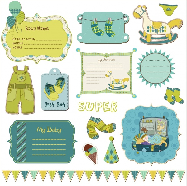 baby shower labels templates cute classic flat decor