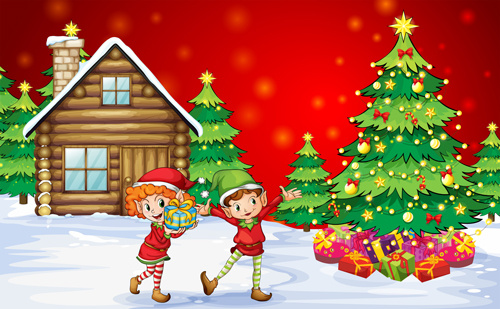 cute children and christmas tree vector