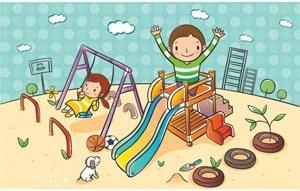 Cute children cartoon clip art playing in landscape park ...