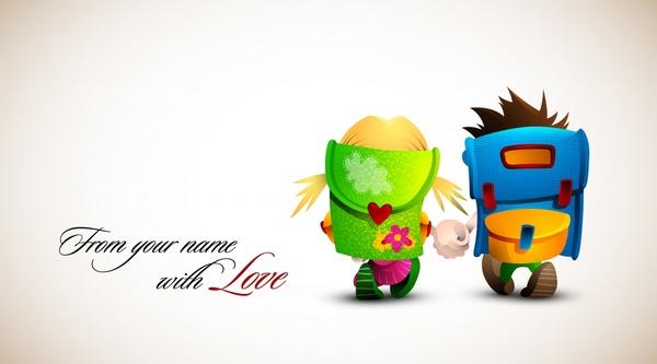love background cute schoolchildren icon colored cartoon design