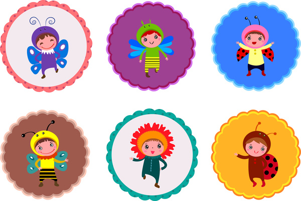 cute children wearing insect costumes vector illustration sets