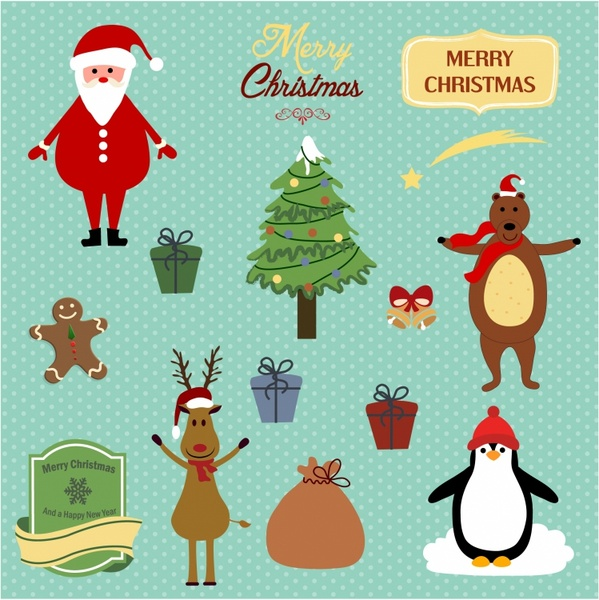 Cute Christmas Background With Santa Reindeer Bear And Penguin