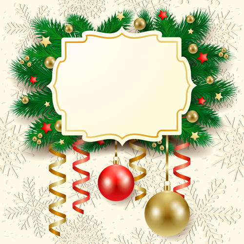 Christmas Card Frame.Cute Christmas Cards With Frame Vector Set Free Vector In