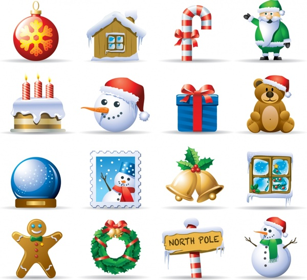 christmas design elements shiny colored modern symbols