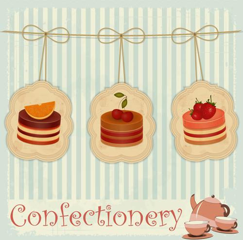 cute confectionery retor background vector