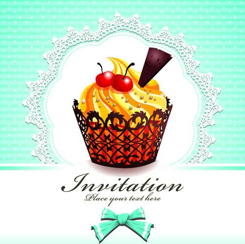 cute cupcakes invitations cards vector set