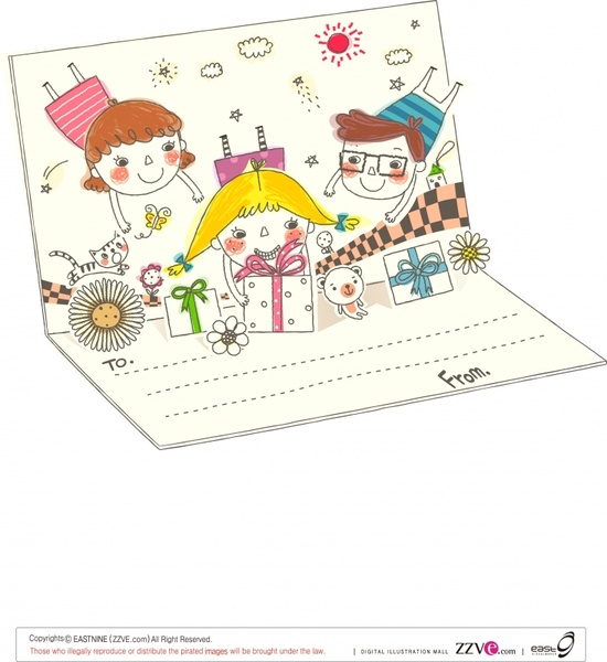 postcard template family theme 3d handdrawn cartoon sketch