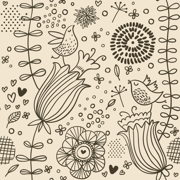 nature painting flowers birds icons handdrawn sketch