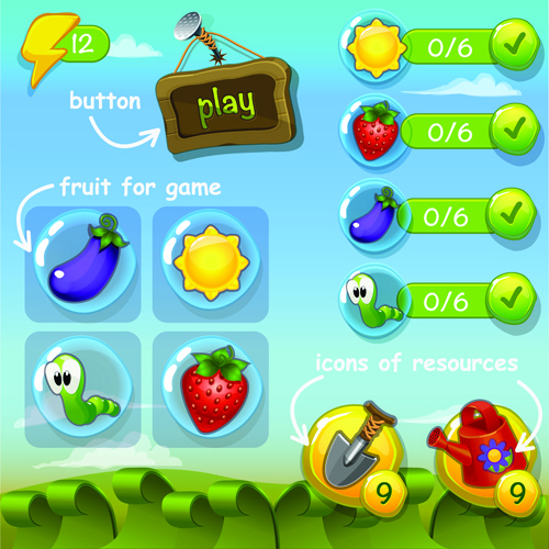 Cute Game Button And Other Design Elements Free Vector In - Game design download