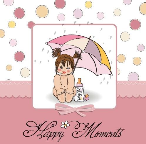 cute girl card 01 vector