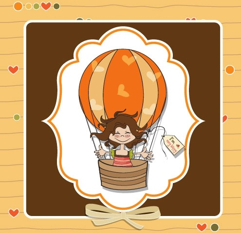 cute girl card 02 vector