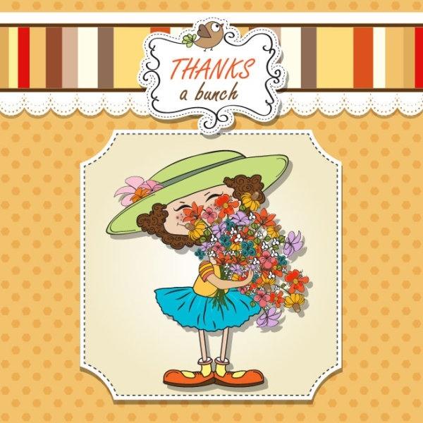 cute girl card 03 vector