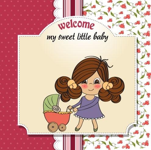 cute girl card 04 vector