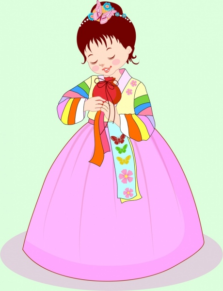 Cute Girl Drawing Asian Traditional Costume Free Vector In