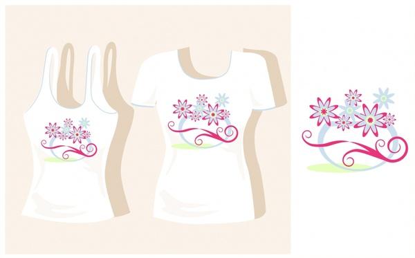 female tshirt decor pattern template flat flowers sketch