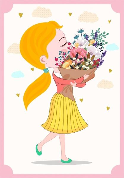 cute girl painting flower bouquet decor cartoon character