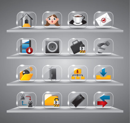 cute glass icons vector graphics