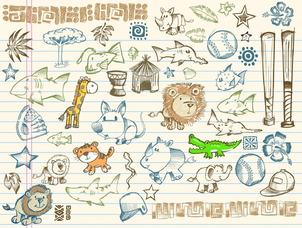 life animals objects icons colored handdrawn sketch