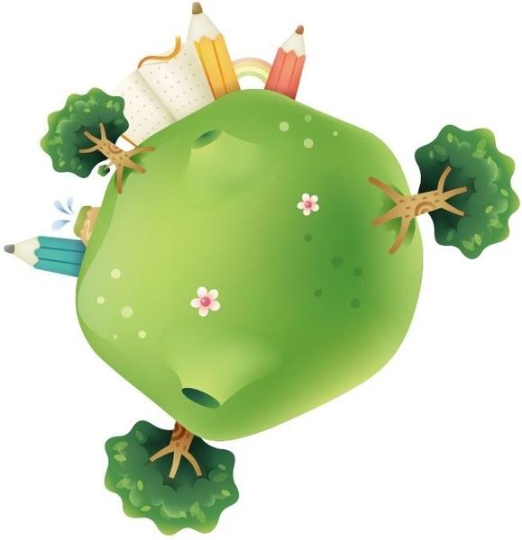 Cute Green Planet Vector Illustration